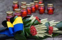 Вшанування, лампадки, свічки, квіти, палина, прапор, стрічка, Україна