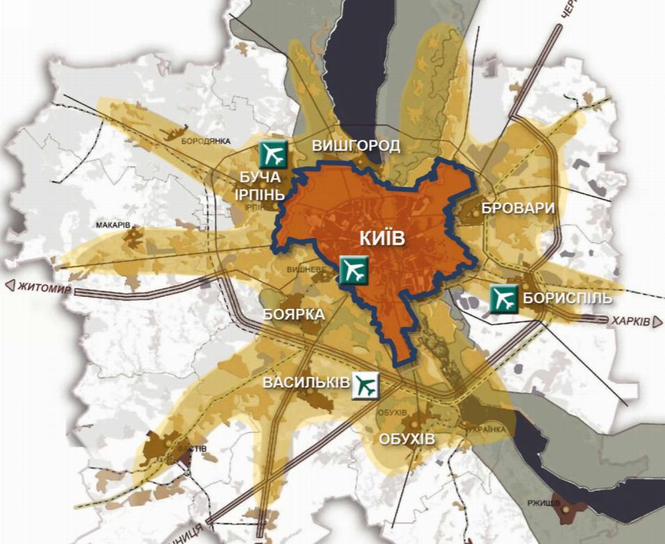 Карта Київської агломерації