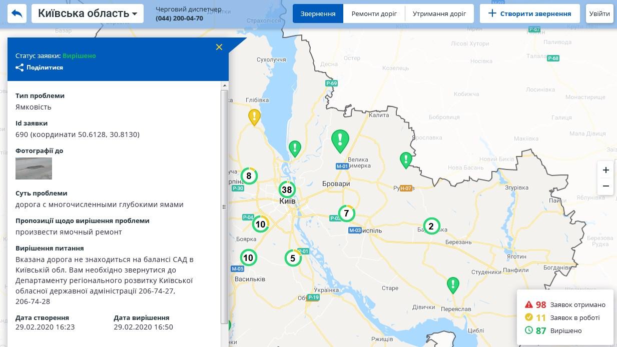 Карта Укравтодору