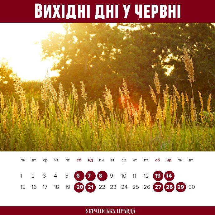 Календар червня 2020