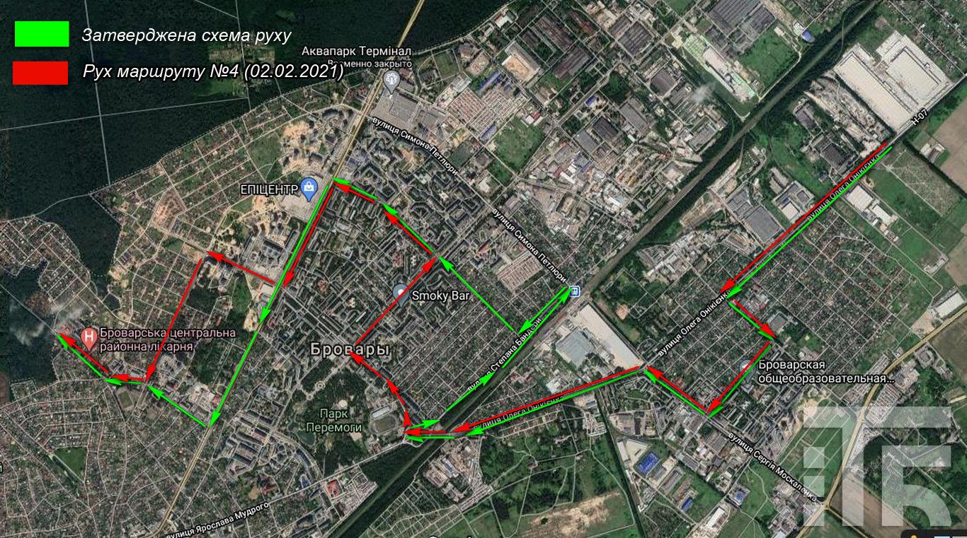 схема руху маршрут №4