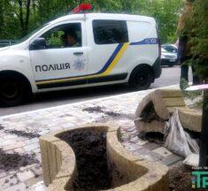 Щоб припаркуватись на тротуарі, водій розбив вазони з квітами. ФОТО